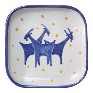 Norwegian Modern Hand-Painted Porcelain 'Mountain Goat' Dish For Sale