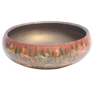Hand Painted Forest Themed Kashmiri Bowl