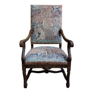 Antique French Carved Walnut Fireside Tapestry Unicorn Queen Dining Arm Chair