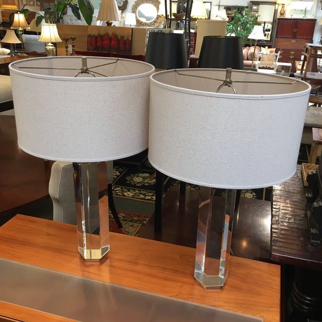 Restoration Hardware Hexagonal Column Crystal Table Lamps- A Pair - Image 3 of 9