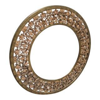 Ethan Allen Round Gold Florentine Hanging Wall Mirror