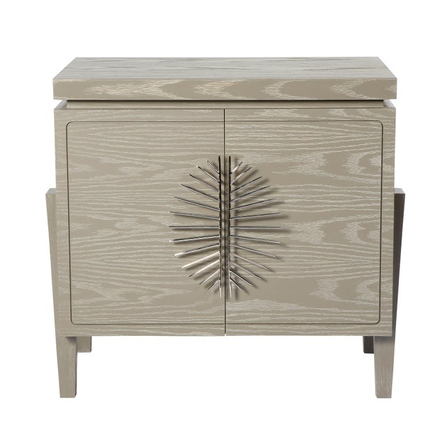 Robin Baron Philippe Nightstand With Doors (Cerused Latte) For Sale - Image 4 of 4