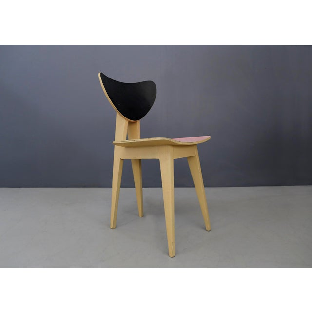 Wood Set of Chair MidCentury Attributed to Gianni Vigorelli in Wood and Formica, 1950 For Sale - Image 7 of 8