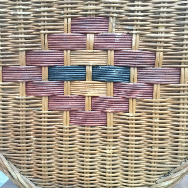1950s Mid Century Vintage Octagonal Wicker Lamp For Sale - Image 5 of 6