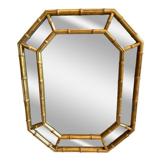 1960s Vintage Hollywood Regency Style Faux Bamboo Mirror For Sale