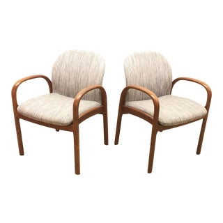 Mid-Century Gunlocke Walnut Chairs - A Pair For Sale