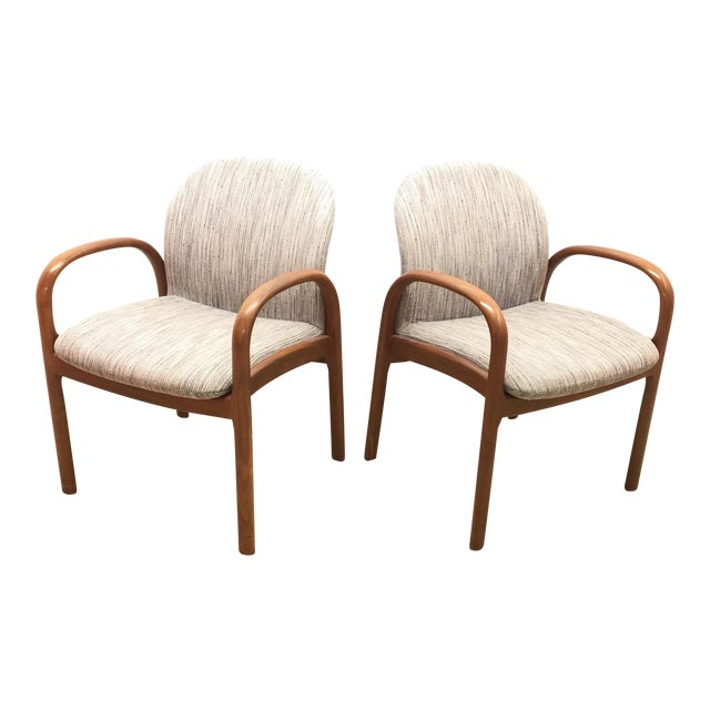 Mid-Century Gunlocke Walnut Chairs - A Pair - Image 1 of 11