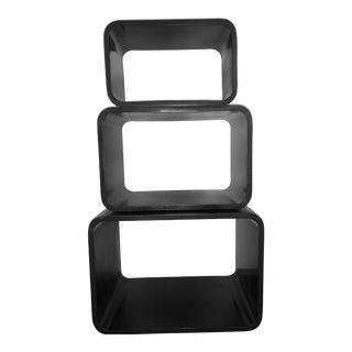 Modern Black Nesting Storage Cubes - Set of 3 For Sale