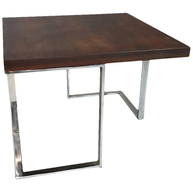 1960s Mid-Century Modern Rosewood and Chrome Coffee or Side Table For Sale