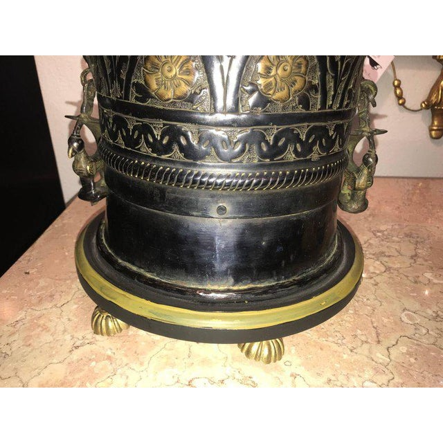 Pair of Custom Quality Vintage Brass and Metal Floral Design Urn Table Lamps For Sale - Image 12 of 13