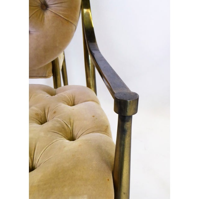 1960s Vintage Mastercraft Brass Tufted Velvet Dining Chairs - Set of 6 For Sale In Miami - Image 6 of 13