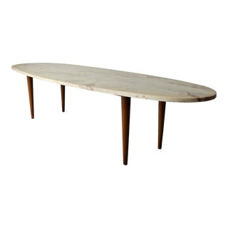 Mid-Century Surfboard Travertine Coffee Table For Sale
