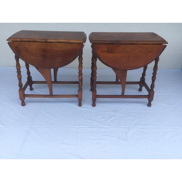 Small Miniature Drop Leaf Side Tables- a Pair Early 20th Century Vintage For Sale In Tampa - Image 6 of 13