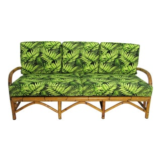 Mid Century Vintage Rattan Sofa For Sale