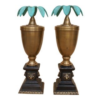 Brass Candlestick Holders With Lion Head and Palm Motifs - a Pair