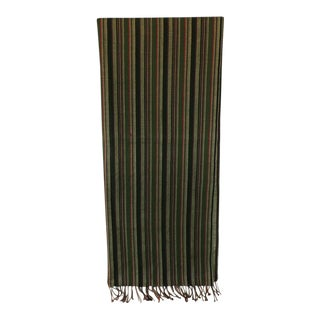 Fashion Long Vintage Green and Red Silk Stripes Unisex Scarf For Sale