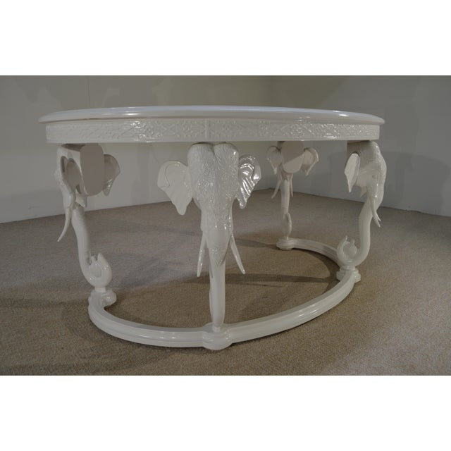 Gampel-Stoll Gampel-Stoll Inc. Mid-Century Hollywood Regency Fretwork Kidney Elephant Desk For Sale - Image 4 of 7