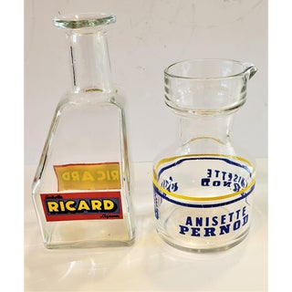 2 Vintage French Bistro Glass Advertising Carafes Preview