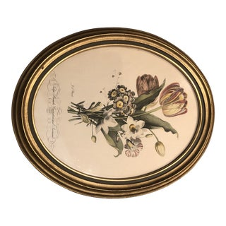 1920s Vintage Oval Framed Floral Print For Sale