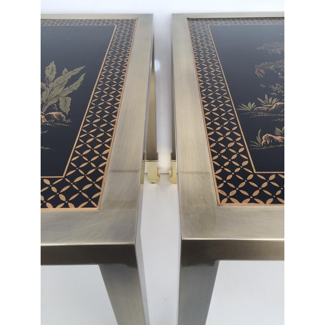 DIA Brass Chinoiserie Design Side Tables - Pair - Image 4 of 9
