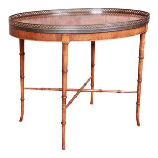 Baker Furniture Regency Faux Bamboo Walnut Tea Table For Sale
