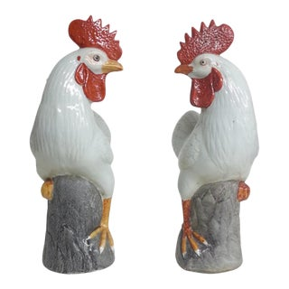 Vintage Chinese Decorative Roosters, Set of 2 For Sale