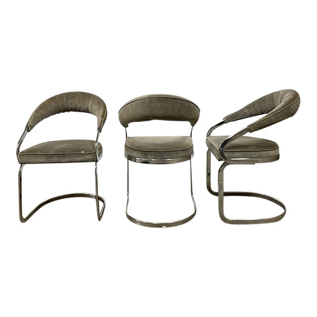 Mid Century Modern Milo Baughman Style Chrome Cantilever Upholstered Chairs- Set of 3 For Sale