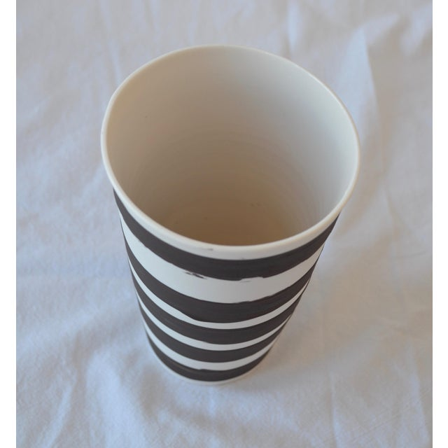 Contemporary Contemporary Ceramic Striped Cylindrical Vessels - Set of 5 For Sale - Image 3 of 13