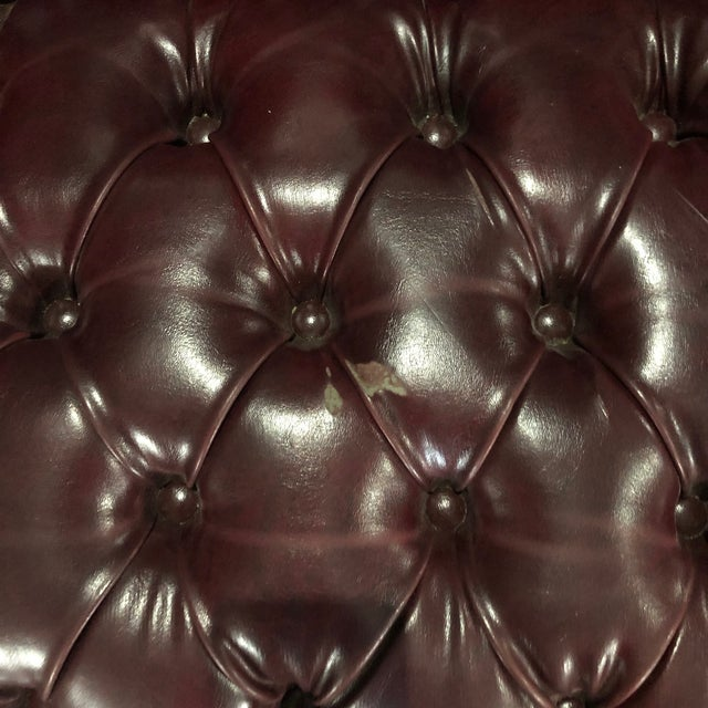 1970s British Chesterfield Burgundy Leather Bench Loveseat For Sale - Image 5 of 10