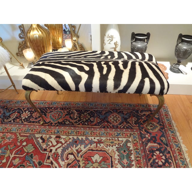 Italian Brass Bench Upholstered in Zebra Hide - Image 6 of 8
