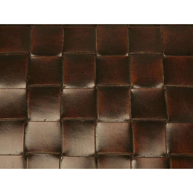 Animal Skin Chic and Unique Vintage French Handwoven Leather Ottoman For Sale - Image 7 of 10