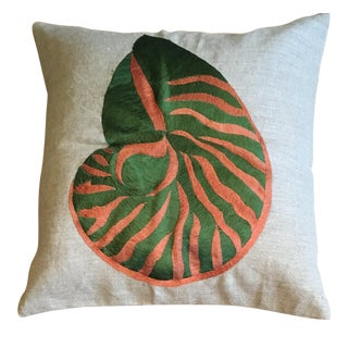 Green & Orange Shell Embroidered Pillow