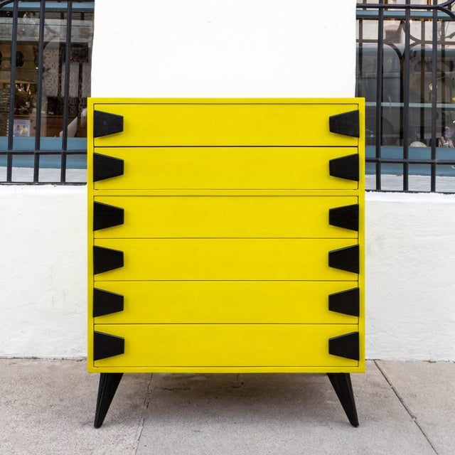 Yellow Mid 20th Century Mid-Century Chartreuse 6 Drawer Highboy Dresser With Black Atomic Handles and Legs For Sale - Image 8 of 8