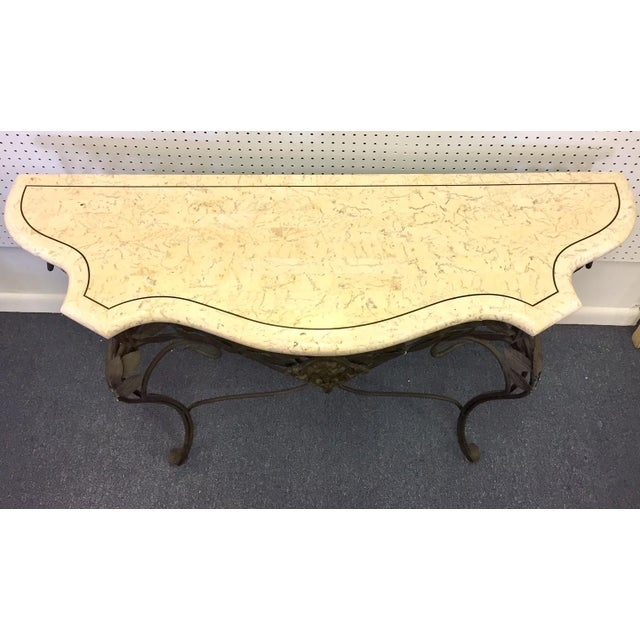 Iron Antique Faux Marble and Iron Console Table For Sale - Image 7 of 11