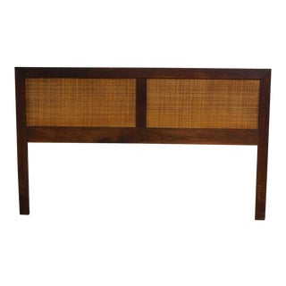 Mid Century Modern 1960s Walnut Cane Panel Full or Queen Size Headboard For Sale