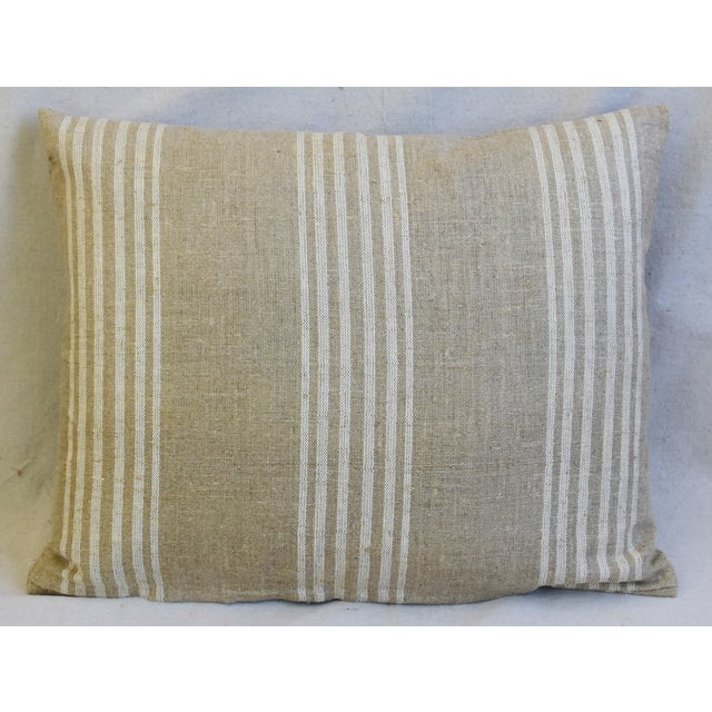 """French Tan & White French Cotton & Linen Ticking Feather/Down Pillows 21"""" X 16"""" - Pair For Sale - Image 3 of 12"""