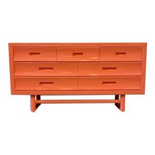 Vintage Coral Lacquered Dresser For Sale