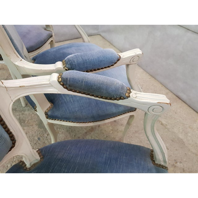 1960s Set of 3 Large French Vintage Whitewashed Velvet Blue Upholstery Louis XV Armchairs For Sale - Image 5 of 13