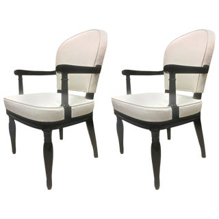 Andre Arbus Pair of Black Lacquered Neoclassic Armchair Fully Restored For Sale