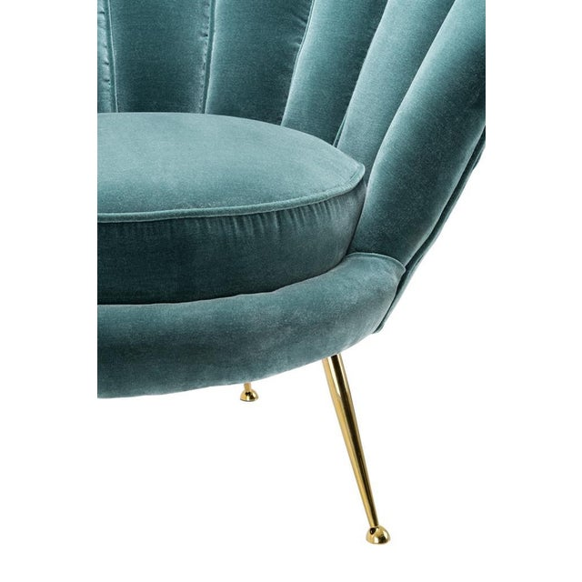 Modern Trapezium Turquoise Shell Shaped Chair For Sale - Image 4 of 6