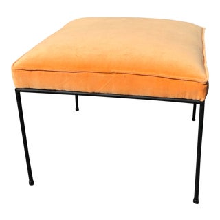 Iron & Orange Velvet Upholstered Stool by Paul McCobb For Sale