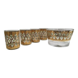 Culver Ltd. Valencia Rare Mid-Century Double Rocks Bar Glasses & Ice Bowl - Set of 5 For Sale