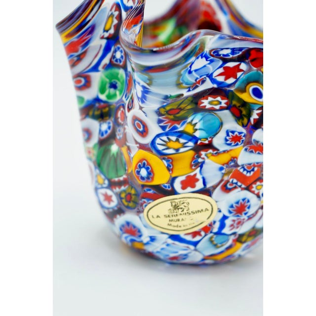 1960s Vintage Murano Millefiori Handkerchief Vase For Sale - Image 5 of 12
