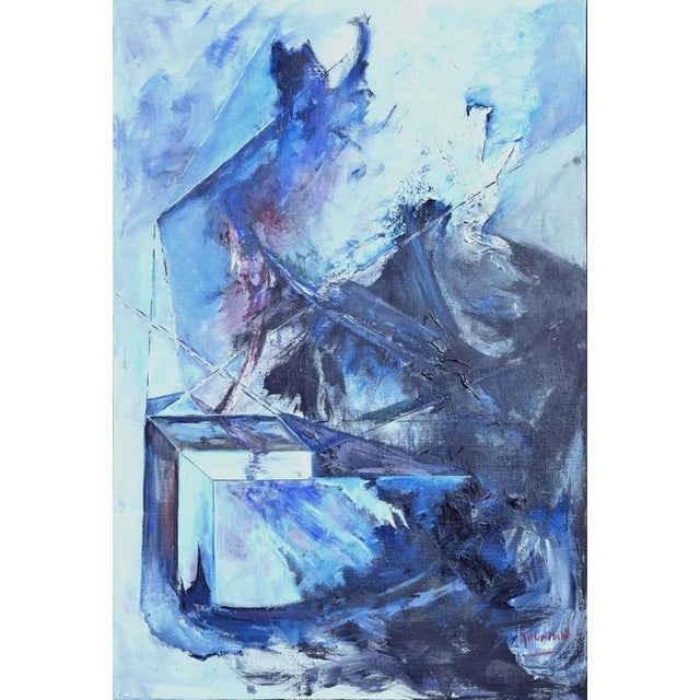 Blue & Black Abstract Expressionist Painting - Image 2 of 5