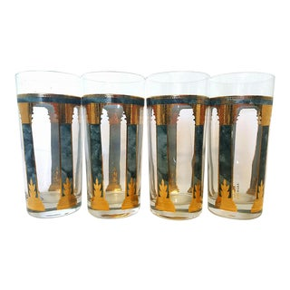 Culver Highball Glassware Set of Four Emerald Marbled Columns Trimmed in Gold For Sale