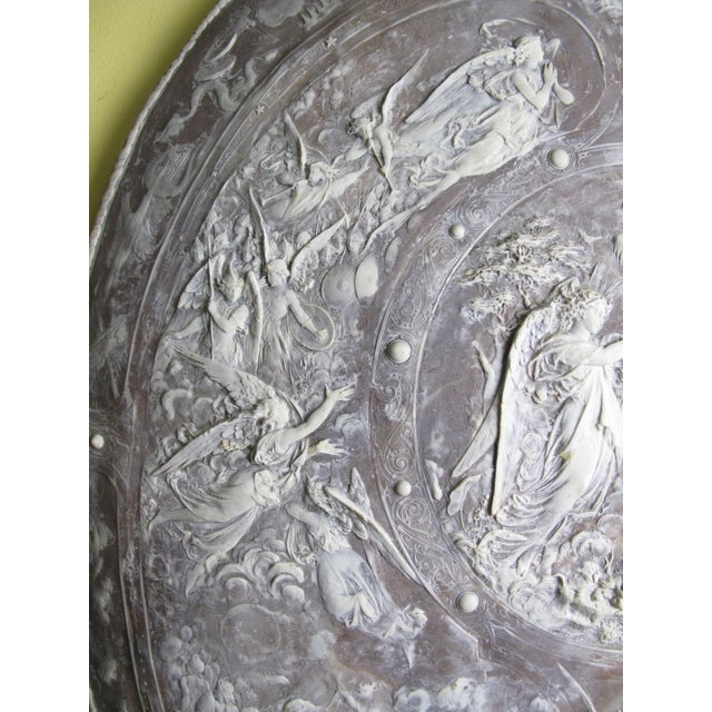 Gray Milton Cameo Shield Poem Paradise Lost War in Heaven Scene Agate Wall Hanging For Sale - Image 8 of 10