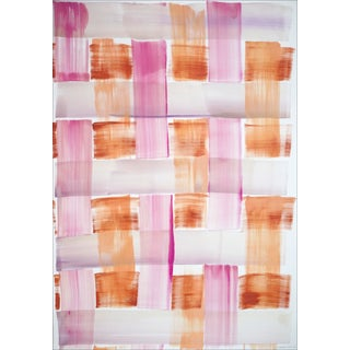 """2021 """"Pink and Orange Brushstroke Grid"""" Contemporary Pattern Acrylic Painting For Sale"""