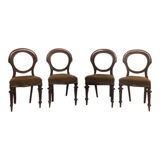 Antique Round Balloon Mahogany Nailhead Chairs - Set of 4
