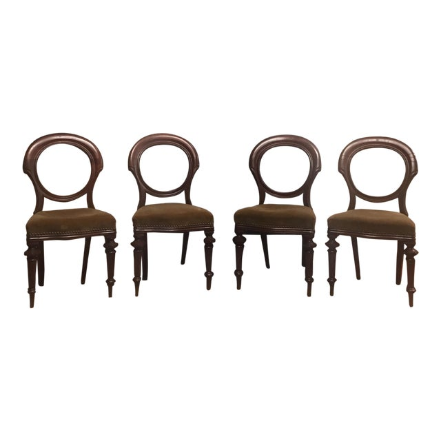 Antique Round Balloon Mahogany Nailhead Chairs - Set of 4 - Image 1 of 11