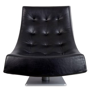 Large Modern Tufted Black Leather Swivel Scoop Lounge Chairs, Pair, Circa 1980 Preview